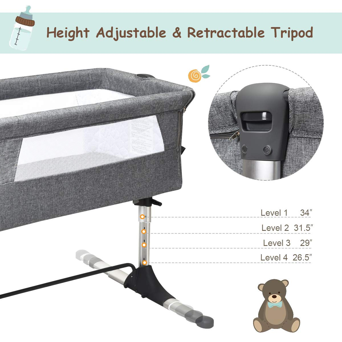 Detachable Mattress Height /& Angle Adjustable Breathable Mesh Easy Folding Portable Baby Bassinet Bedside Sleeper for Newborn Infant with Carrying Bag Straps GLACER Baby Bedside Crib
