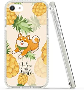 Rose Lake Fruit and Animal Phone Case for iPhone SE 2020 iPhone 8 iPhone 7 Cover, Pineapple and Dog Pet Pattern Girls Women Yellow TPU Shockproof Bumper Back Case 4.7-inch