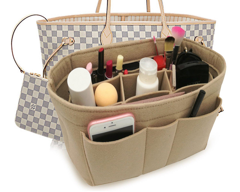 Felt Insert Fabric Purse Organizer Bag, Bag Insert In Bag with Zipper Inner Pocket Beige S