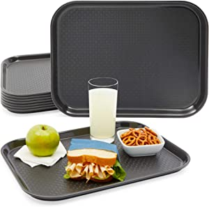 Black Plastic Serving Trays, Cafeteria Food Server (16 x 12 In, 8 Pack)