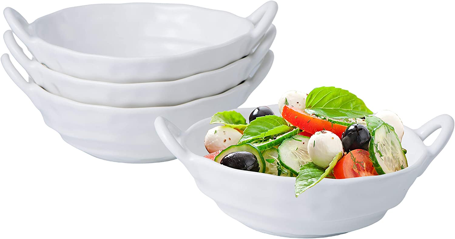 Bruntmor 20 Ounce Modern Elegant Matte Glazed Bowls for Salad, Pasta, Soup, Rice, Food Prep, Ideal for Any Meal, Curvy Design With 2 Large Handle, White