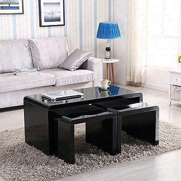 Schindora Design Moderner Schwarz Hochglanz Couchtisch Seite/Ende Tisch Set  Von 3 Wohnzimmer Möbel