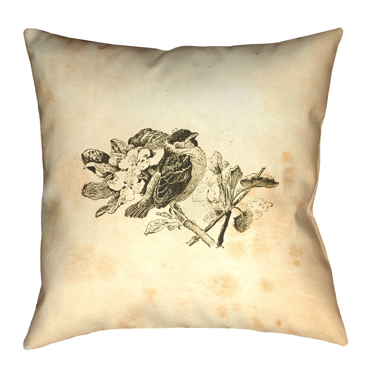 ArtVerse Katelyn Smith 36' x 36' Floor Double Sided Print with Concealed Zipper & Insert Vintage Sepia Bird Pillow SMI133F3636L