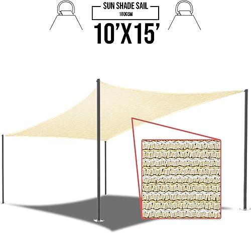 E K Sunrise 10 x 15 Beige Sun Shade Sail Square Canopy – Permeable UV Block Fabric Durable Patio Outdoor Set of 1