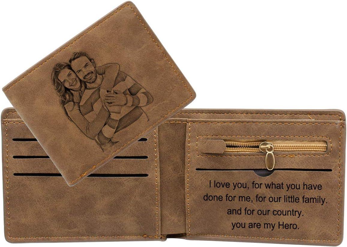 para Hombre de Piel Cartera Personalizada Personalizada con Texto Grabado Padre Gris Marido Gris - XMCYS062040 pap/á