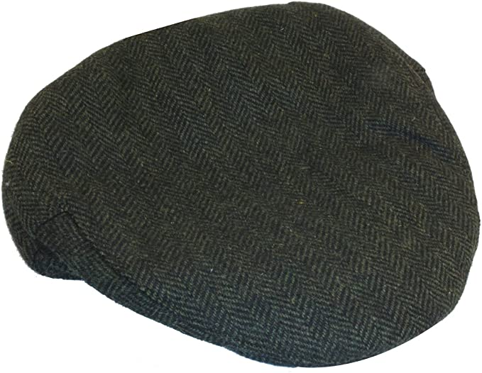 Donegal Tweed Dark Green Herringbone Irish Tweed Cap