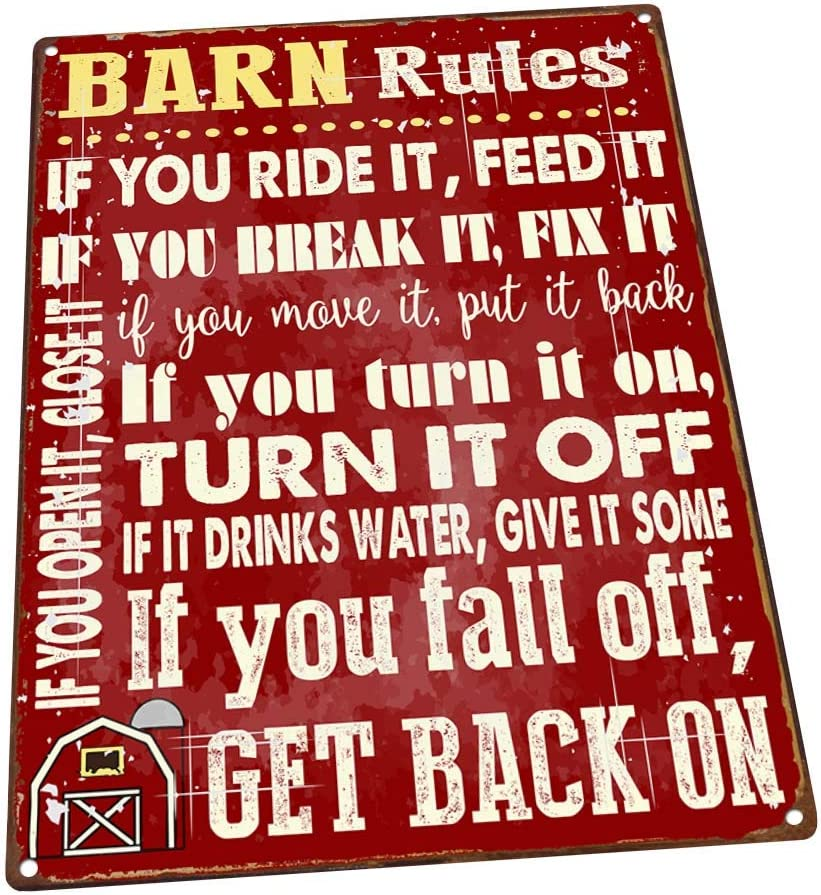 Barn Rules Metal Sign, Stable, Rustic Décor, Cowboy, Ranch, Horses