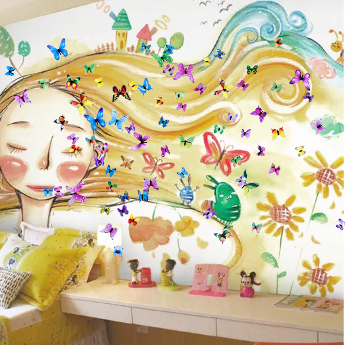 Wall Decals Butterfly 3D Sticker Decor - 72PCS Home Decoration for Living Room, Kids and Teen Girls Removable Mural Wall Art, Baby Nursery Bedroom Bathroom, Waterproof DIY Crafts by Ewong (Image #7)