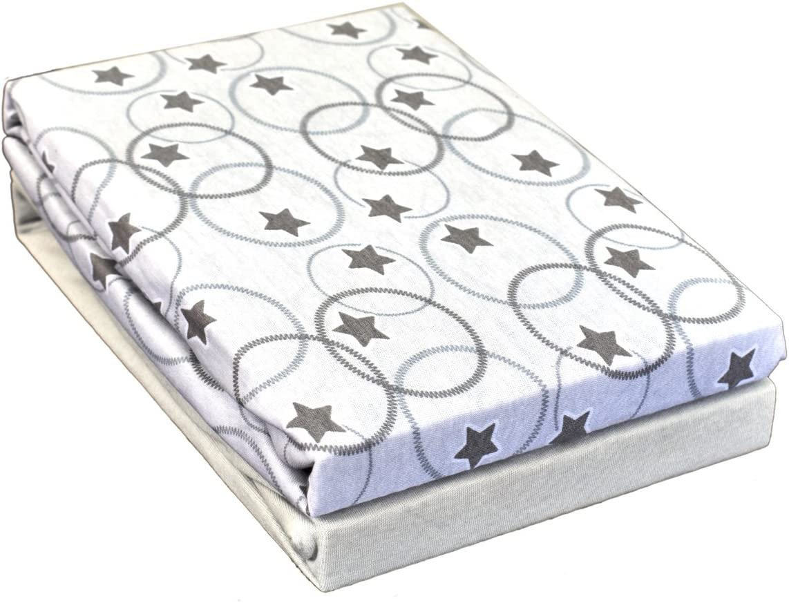 2-Piece Flower Blue Dudu N Girlie Cotton Crib Fitted Sheets