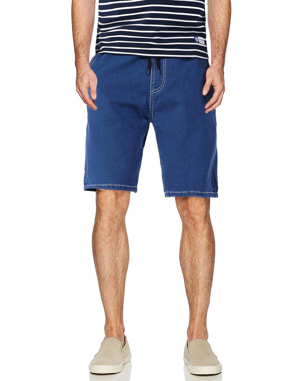 AOMO LOVE Men's Elastic Denim Shorts Casual Denim Shorts Slim Fit Jean Shorts (Blue, 40)