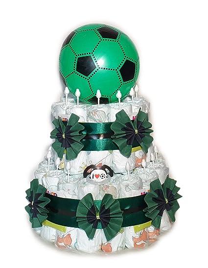 Tarta de pañales, diseño de fútbol, color negro y verde ...