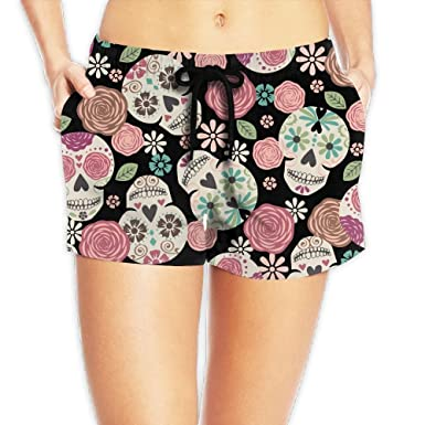 bdbe7f4859 Louise Morrison Boho Sugar Skull Womens Boardshort Swim Trunks Beach Shorts  at Amazon Women's Clothing store: