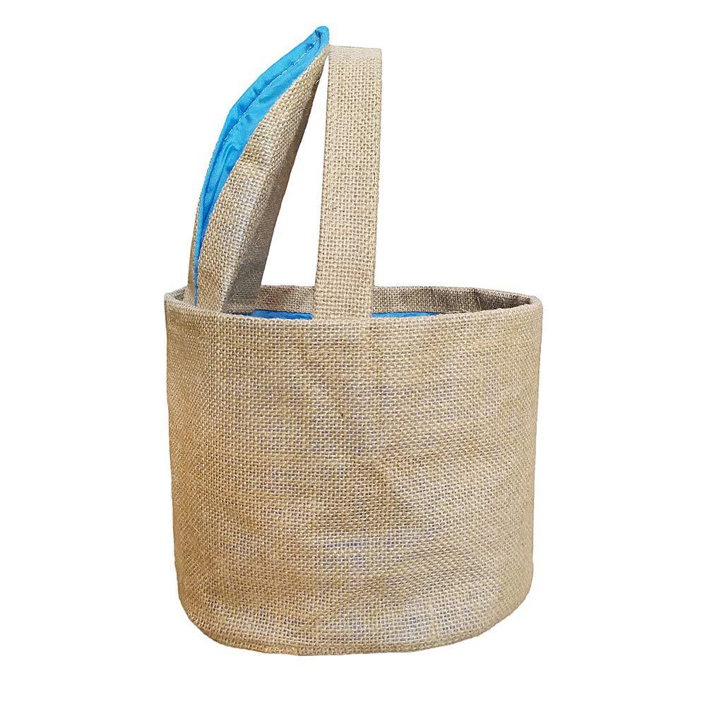DomeStar Jute Bunny Basket, Burlap Cloth Basket Jute Cotton Rabbit Bag Tote Bag Handbag Burlap Easter Bunny Bag for Picnics