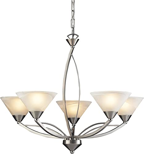 Elk 7637 5 5-Light Chandelier in Satin Nickel and Marbleized White Glass