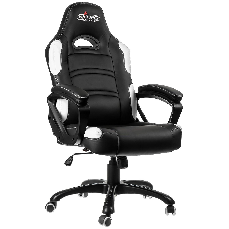 Nitro Concepts nc-c80°C-b C80Comfort Gaming Chair Faux Leather 124x 54x 50cm, black / white, 124x54x50 cm NC-C80C-BW
