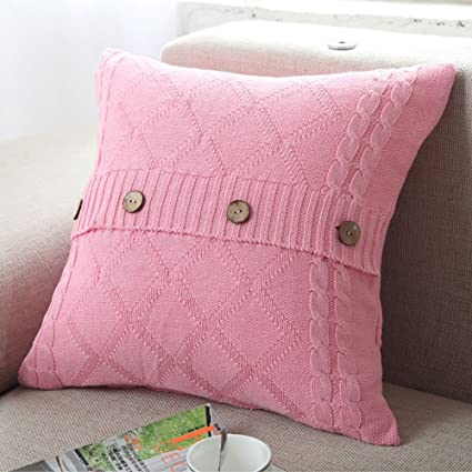 Amazon Decorative Cotton Knitted Pillow Case Cushion Cover