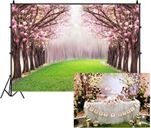 Leowefowa 10X8FT Cherry Blossom Backdrop Enchanted Garden Backdrops for Photography Forest Trees Green Grassland Wedding Ceremony Vinyl Photo Background Bride Lover Studio Props