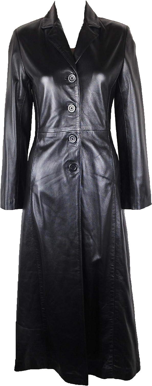 UNICORN Mujeres Genuino real cuero chaqueta Estilo clásico Gabardina Abrigo largo longitud Negro #BA
