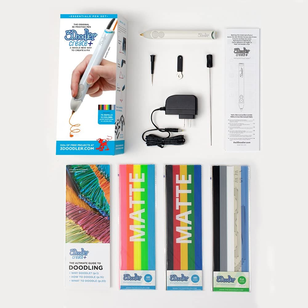 Adults /& Creators! Getting Started Guide Arctic White Stencil Book 3Doodler Create+ 3D Printing Pen for Teens 2019 Model, UK-Plug - with FREE Refill Filament