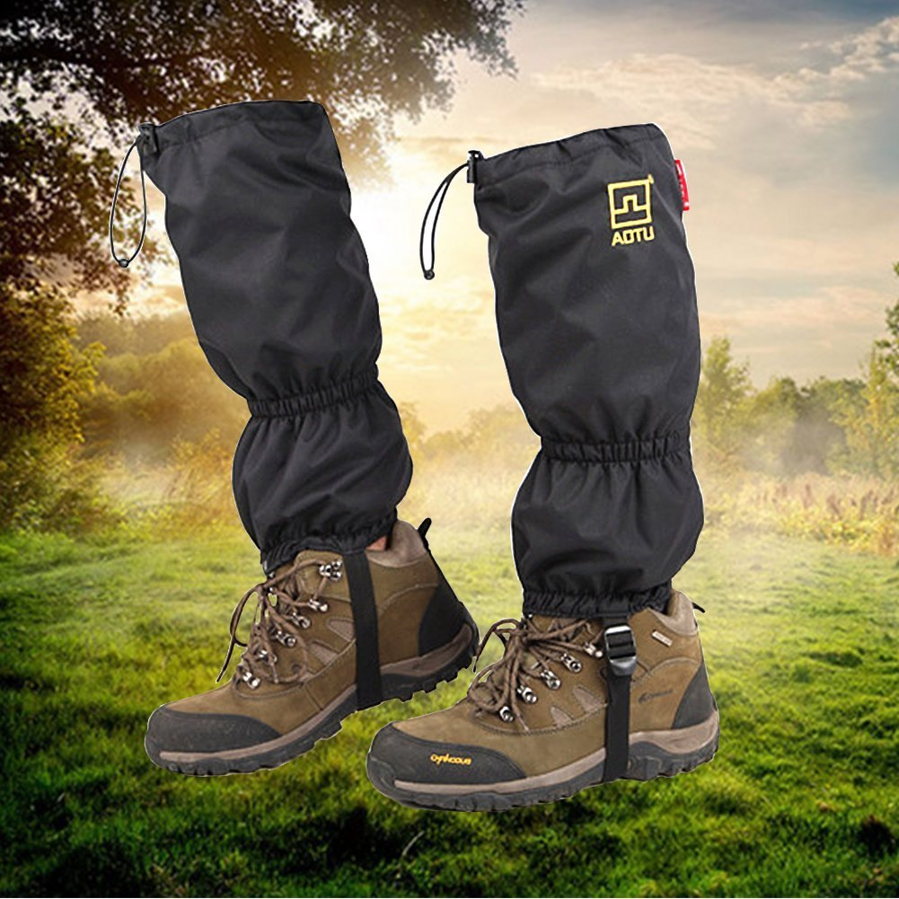 High Snow Leg Gaiters JTENG Double Sealed Velcro Zippered Closure TPU Strap Waterproof Leg gatiers Hiking Ski by JTENG