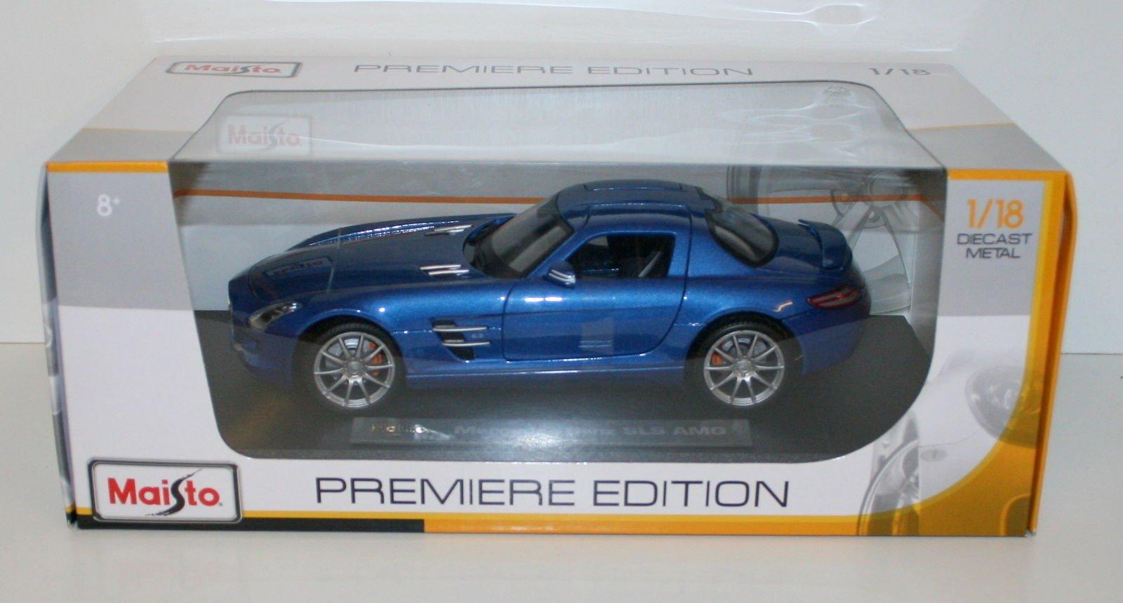 Mercedes-Benz SLS AMG Gullwing Blue 1:18 Scale Maisto Die Cast Model Car