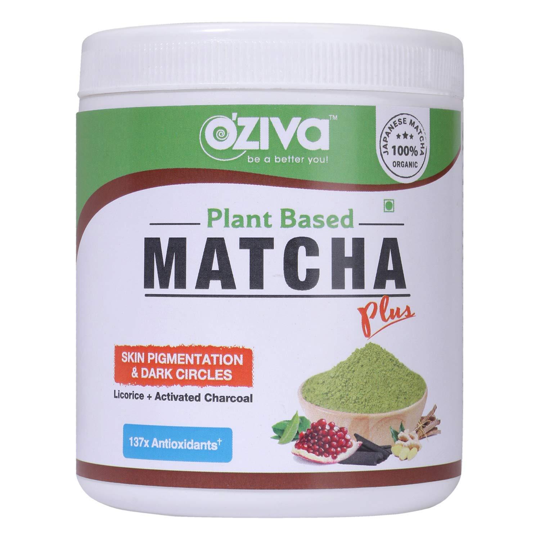 Oziva Matcha Plus with Licorice, Organic Matcha, Activated Charcoal for Skin Pigmentation and Dark Circles, 50 Gram