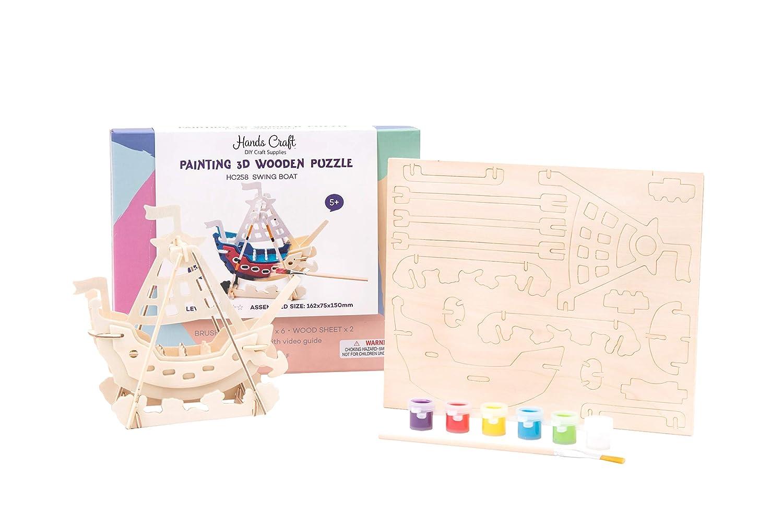 Amazoncom Hands Craft Hc258 Diy 3d Wooden Puzzle With Paint Kit
