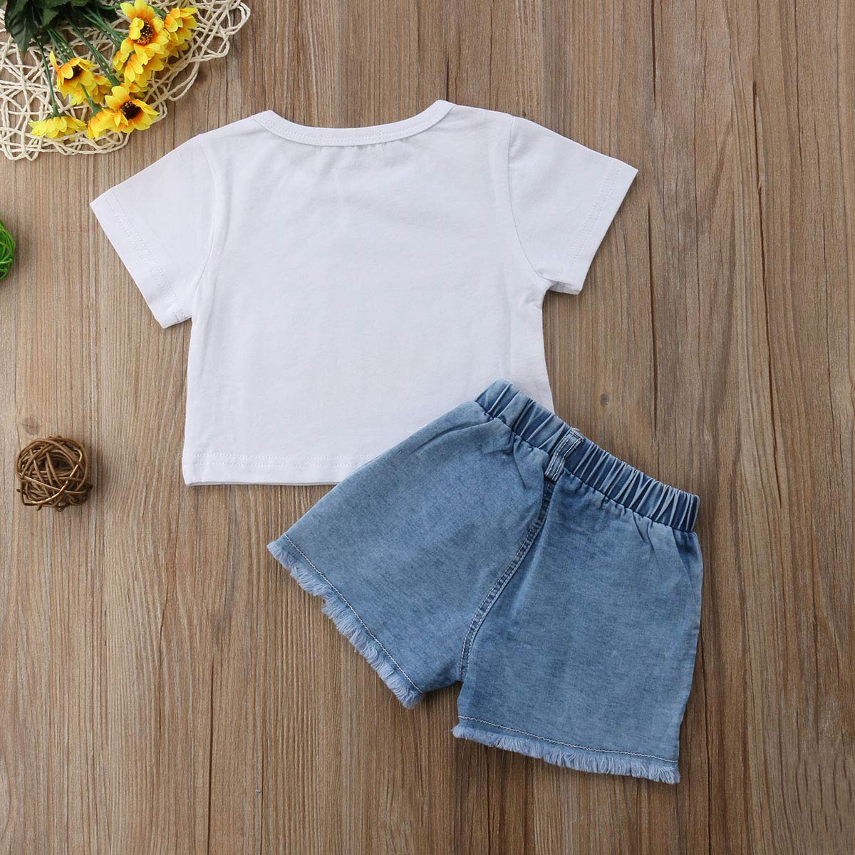 Toddler Baby Girl Summer Shorts Set Crop Tops T-Shirt Denim Pants 2Pcs Clothes Outfit