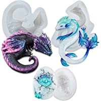 Dragon and Dragon's Egg Epoxy Resin Silicone Moulds Set for Concrete Cement Polymer Clay 3-Count Large Length 2.36-4inch