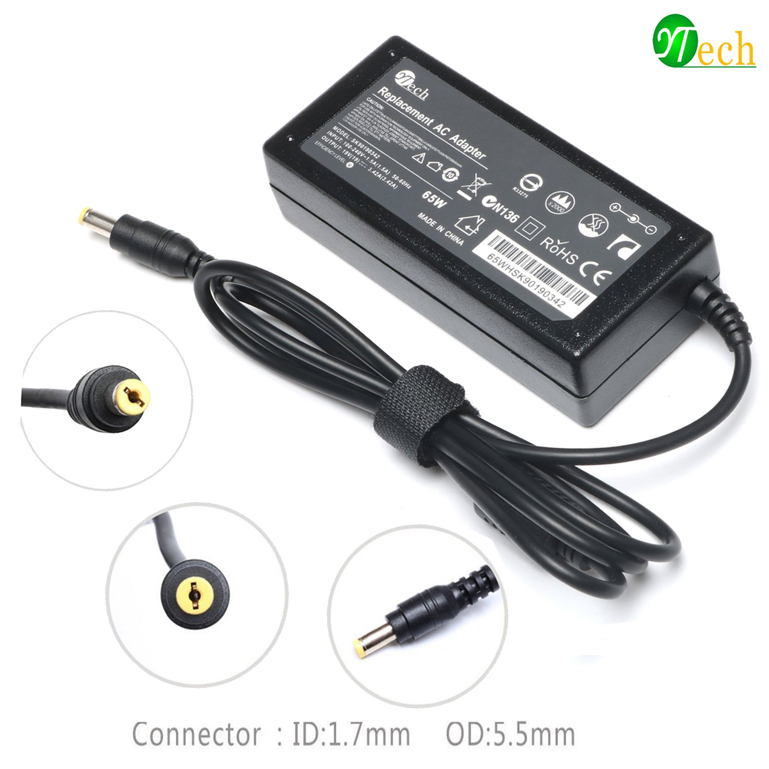 YTech 65W AC Power Adapter/Battery Charger for Acer Aspire 5532 5349 5750 5742 5250 5253 5733 5534 5336 5552 5560 7560 SB416 5250 AS7750 6423 V5 V7 V3 R3 R7 S3 E1 M5 Series Laptop Power Supply Cord
