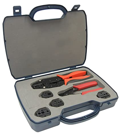 ConnectoRF Heavy Duty Quick Change Ratchet Crimping Tool Kit for Coaxial Cable With Cutter and 4