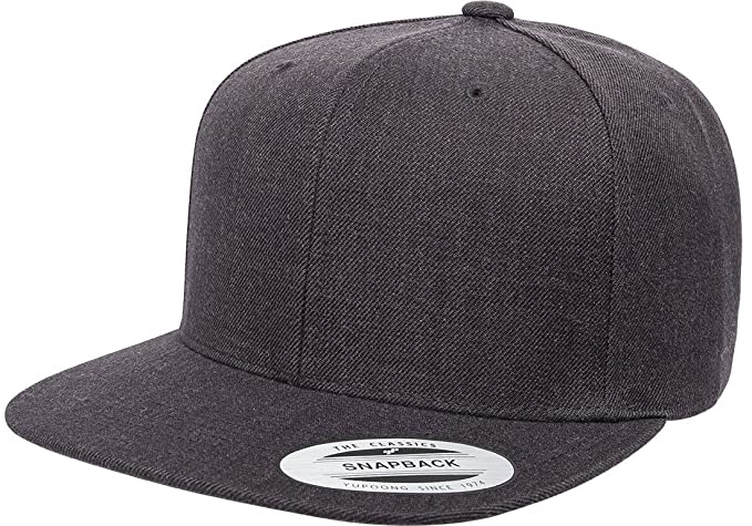 522ba566eaa Yupoong 6089M Classic Snapback Pro-Style Wool Cap by Flexfit (Dark Heather)