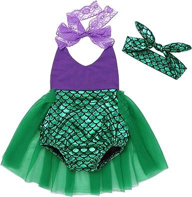 TiaoBug Bebé Pequeños Disfraz de Princesa Sirena Vestido con ...