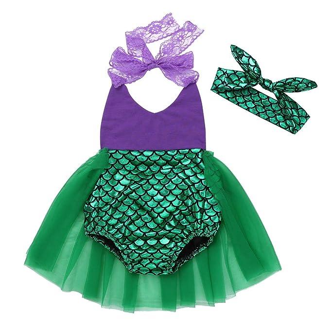 CHICTRY Bebé Niña Vestido de Princesa Sirena Pelele Disfraz de Sirena Halloween Infantil Vestido de Fiesta Carnaval Ceremonia Cosplay con Corona para Bebé: ...