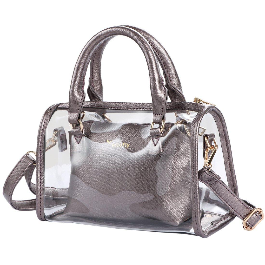 kilofly Women's 2-in-1 Clear Transparent Handbag Crossbody Purse Shoulder Bag AWP390BLK