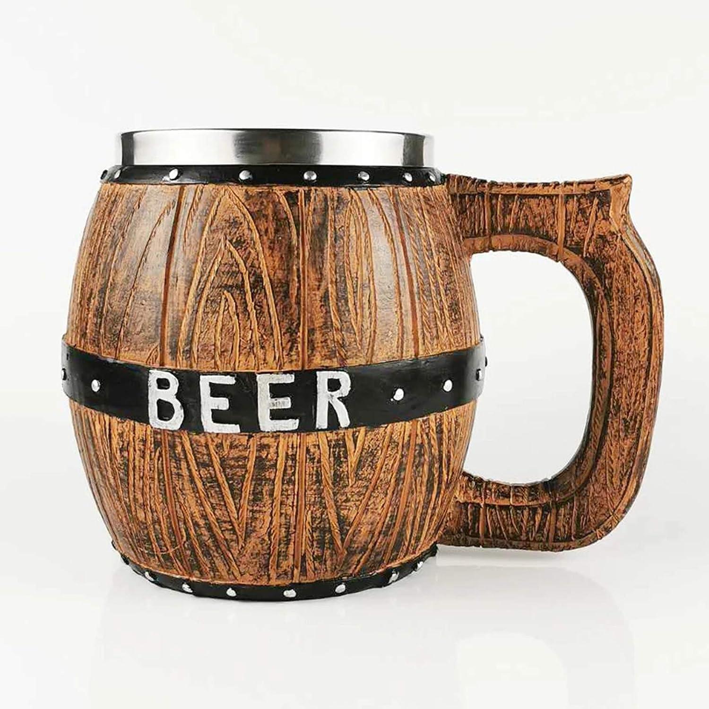 Taza de Cerveza Madera Roble Molde de Resina, con 20 Oz Acero Inoxidable de Acero Innebitano Taza de Cerveza Barra de Cocina Webware Regalo de Halloween