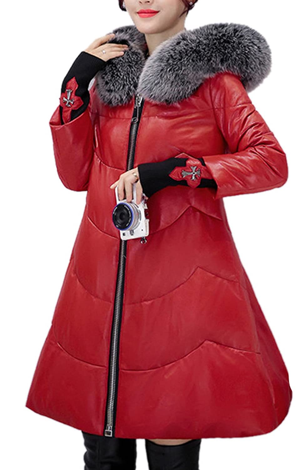 Allbebe Women's Faux Fur Collar Hooded Down Jacket Quilted Leather Coat Parka