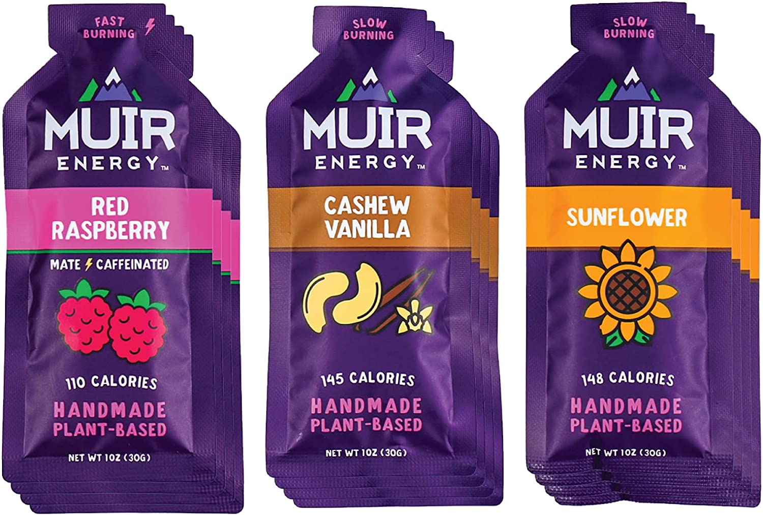 Muir Energy Real Food Energy Gel Variety Pack - 12-Count - Organic Fuel for Endurance Athletes (Red Raspberry Mate/Cashew Vanilla/Sunflower)