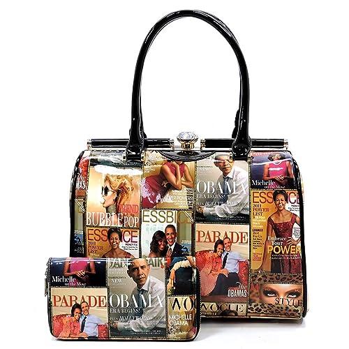 103e74a7a13b Glossy Magazine Cover Collage 2-in-1 Dome Satchel & Wallet Set Michelle  Obama Handbag (Multi-3)