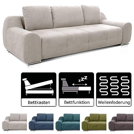 Cavadore Big Sofa Benderes Schlafsofa Mit Bettfunktion Und Bettkasten Moderne Couch Mit Steppung Und Ziernaht Inkl 3 Kissen Chromfüße 266 X