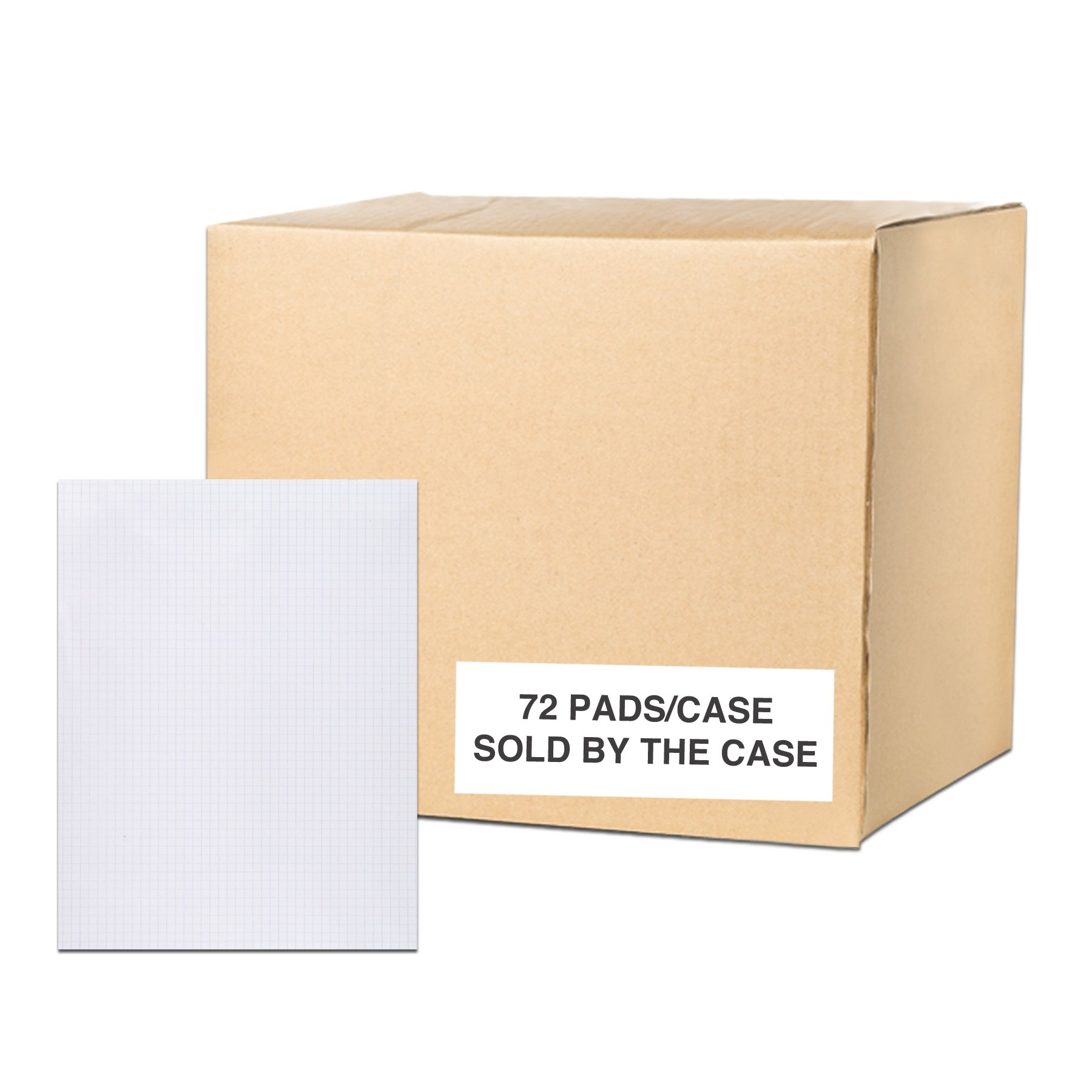 Case of 72 Gummed Pads, 8.5''x11'', 50 sheets 15# White Paper Per Pad, 12 Pads Per pack, 3-Hole Punched, glued, 5x5 graph Ruled