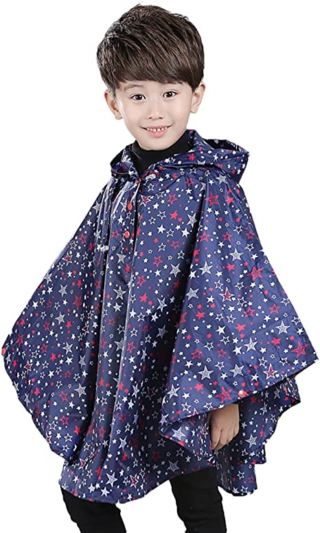 IPENNY Children Rain Poncho Raincoat Waterproof Rain Jacket Cloak Cute Pupils kids Light Thin Stars Raincoats for Boys Girls Dry Water Coat