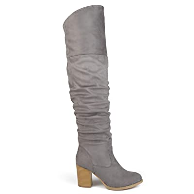 Brinley Co. Womens Regular Wide Calf and Extra Wide Calf Ruched Stacked Heel Faux Suede Over-The-Knee Boots | Over-the-Knee