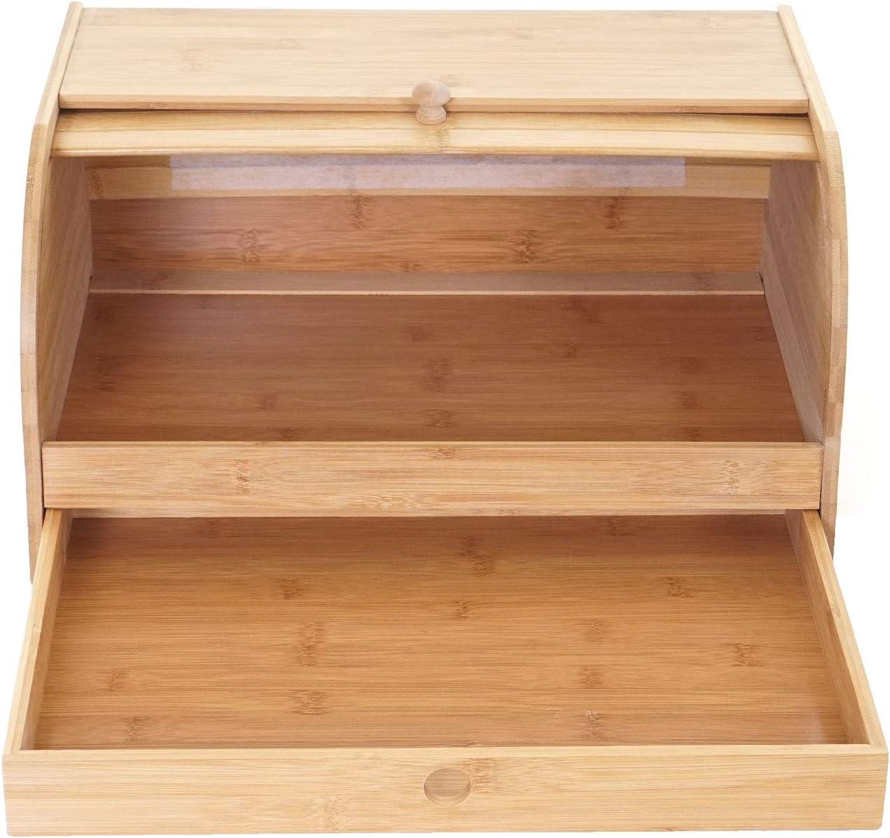 Mendler Bo/îte /à Pain HWC-B80 huche paneti/ère avec tiroir Conservation Bambou Couvercle Coulissant ~ 21x40x28cm