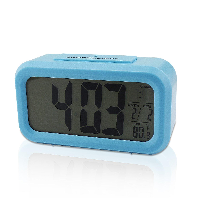 LCD de alarma Snooze Reloj digital con sensor de luz de fondo LED de luz blanca de luz azul: Amazon.es: Bricolaje y herramientas