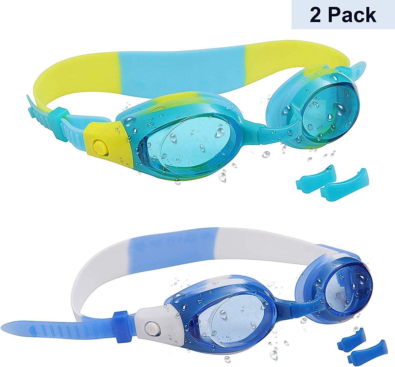 Pack de 2 Gafas de Natación Niños con 2 Pares de Puentes Nasales Ajustables - Júnior Gafas de Natación Protección UV para Niños, Niñas