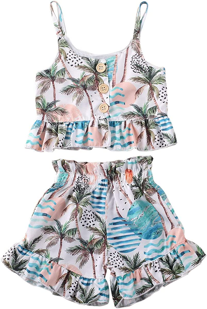 Toddler Kids Baby Girl Floral Skirt Set Halter Ruffled Romper Tops Shorts Dress 2PCS Summer Outfits Clothes Set