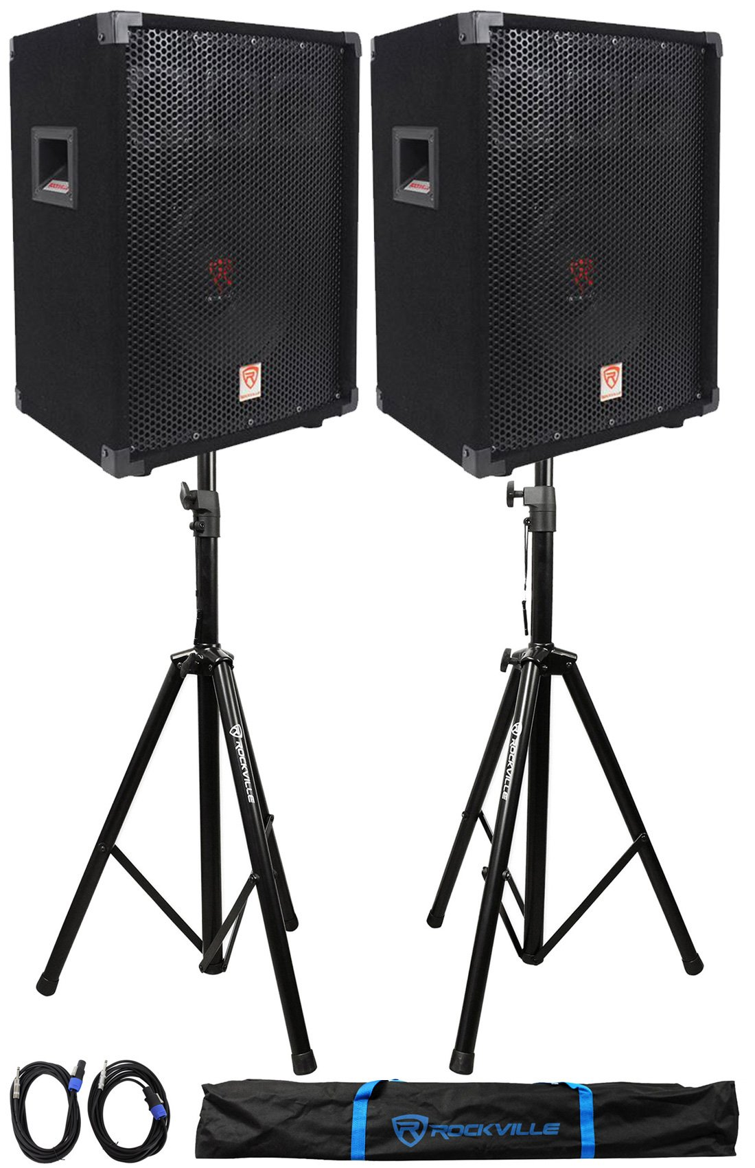 (2) Rockville RSG10 10 400 Watt 2Way 8-Ohm Passive DJ PA Speaker +Stands +Cables by Rockville