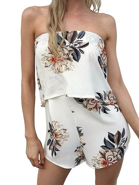 929b5484970 Amazon.com  Simplee Apparel Women s Boho Floral Print Off Shoulder  Sleeveless Overlay Romper Short Jumpsuit White  Clothing