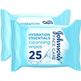 JOHNSON'S, Cleansing Wipes, Hydration Essentials, Face, Pack of 25 wipes, Pack of 2